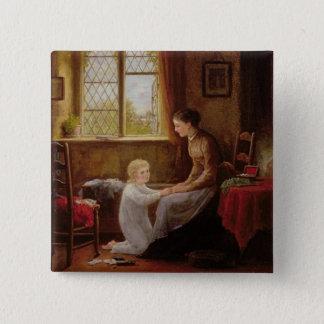 Bedtime, 1890 (oil on panel) 15 cm square badge