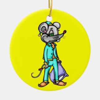 Bedtime Mouse Round Ceramic Decoration
