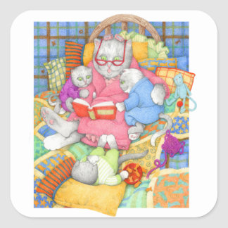 """Bedtime Story 3"""" Square Stickers"""
