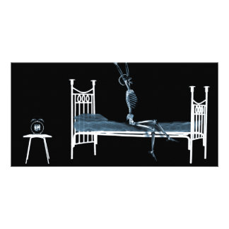Bedtime X-Ray Skeleton Black Blue Photo Greeting Card