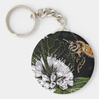 bee a basic round button key ring