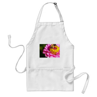 bee and bug standing on a purple flower standard apron