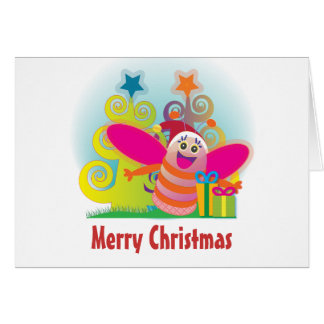 Bee and Christmas trees Note Card