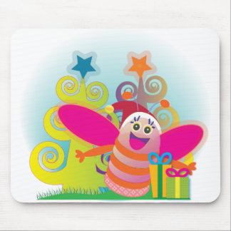 Bee and Christmas Trees Mouse Pad