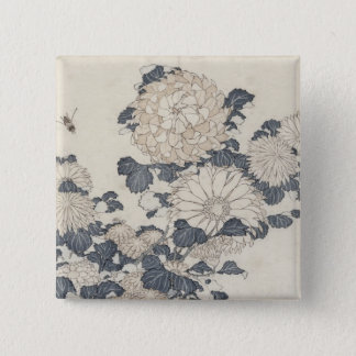 Bee and chrysanthemums 15 cm square badge