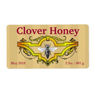 Bee and Clover Personalised Honey Jar Shipping Label
