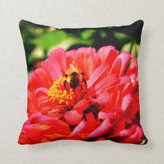 Bee and Coral Zinnia Cushion
