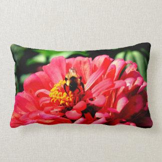 Bee and Coral Zinnia Lumbar Cushion