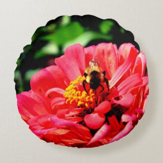 Bee and Coral  Zinnia Round Cushion