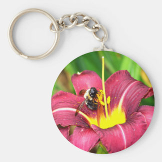 Bee and Daylily Basic Round Button Key Ring