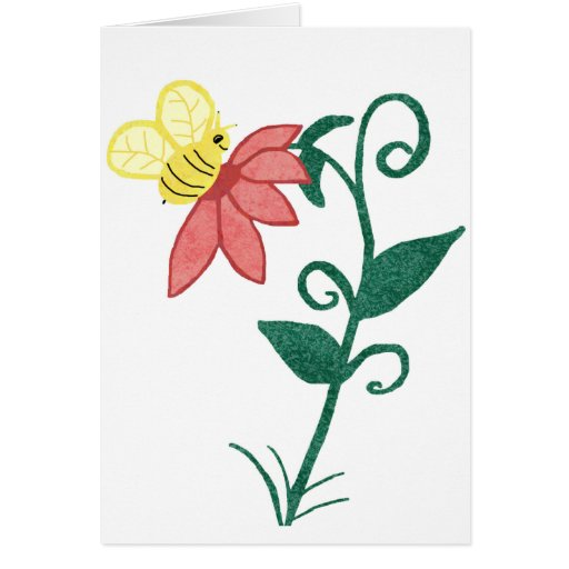 bee and flower blank card
