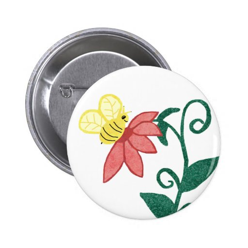 bee and flower button