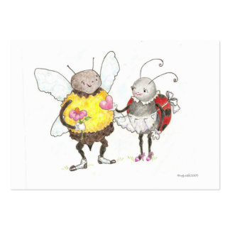 bee and ladybug tiny valentine business card