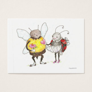 bee and ladybug tiny valentine business card