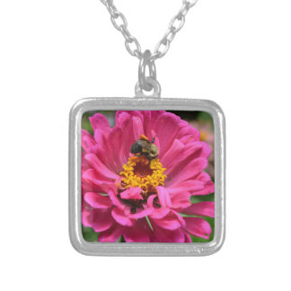 Bee and pink flower silver plated necklace