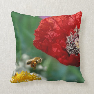 Bee and Red Poppy Cushion