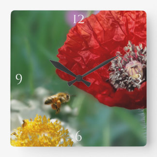 Bee and Red Poppy Square Wall Clock