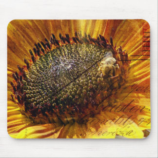 Bee and Sunflower Postcard Digital Art Mouse Pads