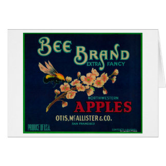 Bee Apple Crate Label Greeting Card