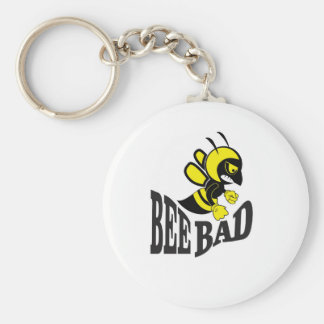 bee bad mean basic round button key ring