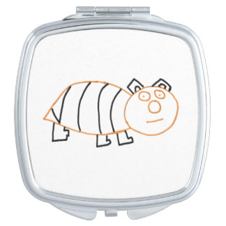 Bee Bear Square Compact Mirror