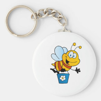 Bee Bees Bug Bugs Insect Cute Cartoon Animal Basic Round Button Key Ring