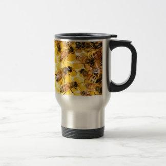 Bee Bees Hive Honey Comb Sweet Dessert Yellow Stainless Steel Travel Mug
