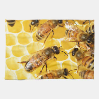 Bee Bees Hive Honey Comb Sweet Dessert Yellow Tea Towel