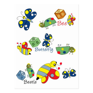 Bee Beetle Butterfly.jpg Postcard