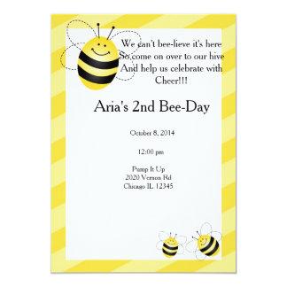 Bee Birthday 13 Cm X 18 Cm Invitation Card