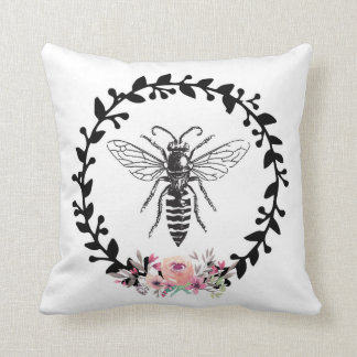 Bee Black White Watercolor Floral French Pillow