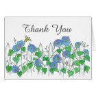 Bee Blue Morning Glory Flowers Thank You Card
