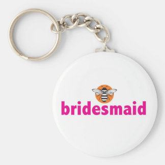Bee bridesmaid basic round button key ring