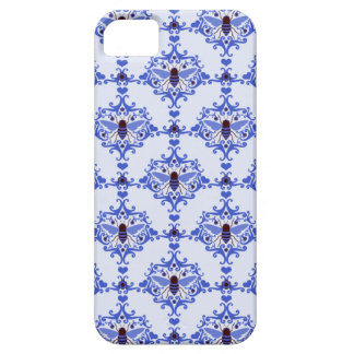 Bee bumblebee blue damask vintage insect pattern iPhone 5 cases