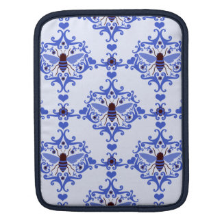 Bee bumblebee blue damask vintage insect pattern sleeve for iPads