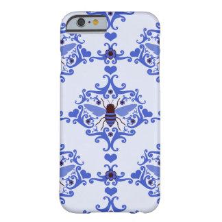 Bee bumblebee blue damask wallpaper pattern case