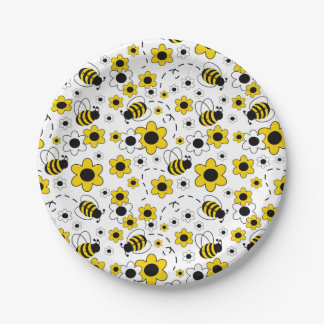 Bee Bumblebee Girl Baby Shower Birthday Party 7 Inch Paper Plate