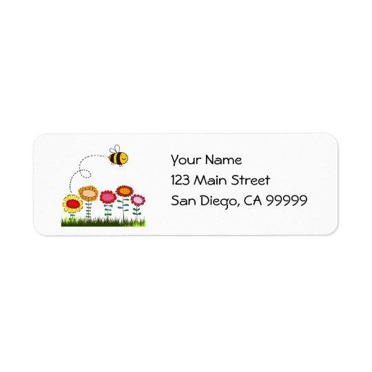 Bee Buzzing a Flower Garden Return Address Label