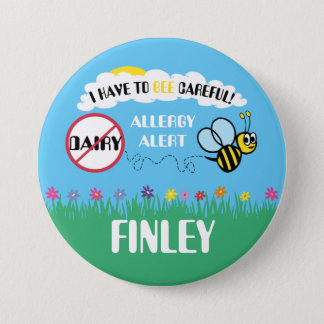 Bee Careful Dairy Allergy Alert Button