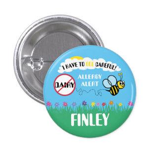 Bee Careful Dairy Allergy Alert Button 1 Inch Round Button