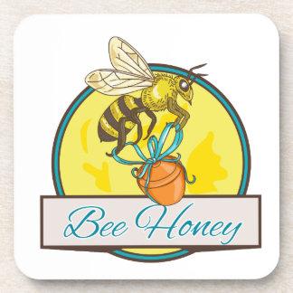 Bee Carrying Honey Pot Circle Drawing Coaster