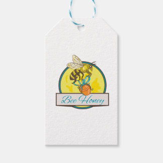 Bee Carrying Honey Pot Circle Drawing Gift Tags