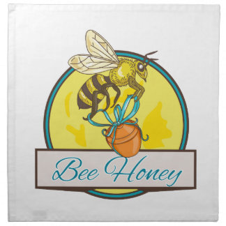 Bee Carrying Honey Pot Circle Drawing Napkin