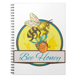 Bee Carrying Honey Pot Circle Drawing Notebook