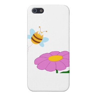 Bee Cartoon Character Flying Over Flower iPhone 5 Cover