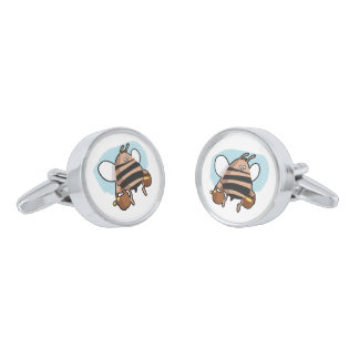 Bee cartoon silver finish cuff links