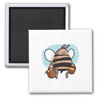 Bee cartoon square magnet