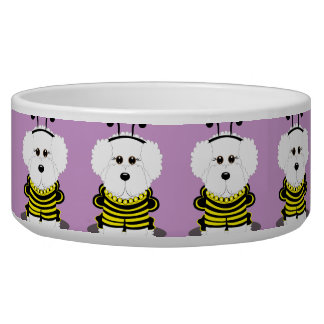 Bee*chon Bichon Frise Bumble Bee Dog Bowl