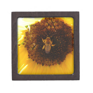 Bee Climbing A Sunflower Premium Jewelry Box