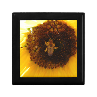 Bee Climbing A Sunflower Small Square Gift Box